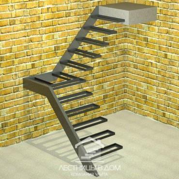 Лестница консольная Г-образная с площадкой
