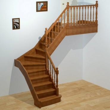 """Лестница """"Классическая"""" Г-образная с забежными ступенями"""