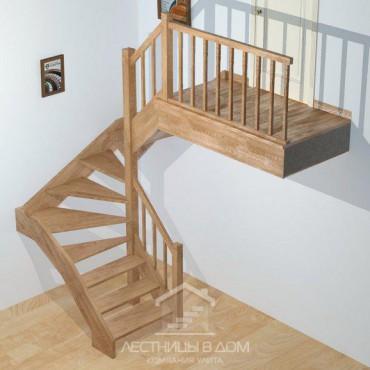 """Лестница """"эконом"""" П-образная с забежными ступенями"""